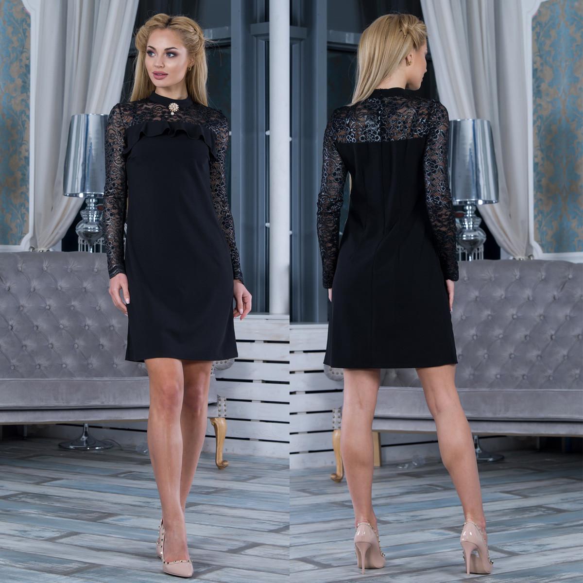 """Черное нарядное женское платье """"Пиана"""""""