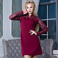 """Бордове короткий жіноче плаття з гіпюром розмір S """"Піана"""", фото 1"""