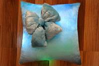Подушка Гламур с бантиком светящаяся синяя