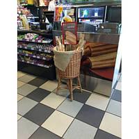 Плетеная корзина для багетов из натуральной лозы (высота 80, диаметр верхний 44, нагрузка 70 кг)