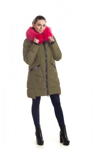 Зимняя куртка 17-15 Хаки+Розовый