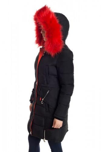 Зимняя куртка 17-16 Черный+Оранж