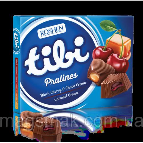 Коробочные конфеты Roshen Tibi Pralines Black cherry & Choco cream / Caramel cream 119г