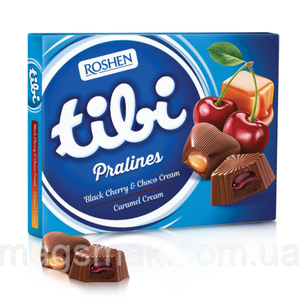 Коробочные конфеты Roshen Tibi Pralines Black cherry & Choco cream / Caramel cream 119г, фото 2
