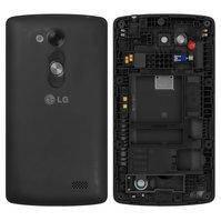 Задняя панель корпуса для мобильных телефонов LG D290 L Fino, D295 L Fino Dual, черная, с разборки, Original, + средняя часть