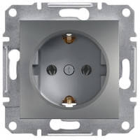 Розетка с заземлением (сталь) Asfora Schneider Electric