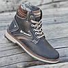 Подростковые мужские зимние кожаные ботинки черные (код 4769)