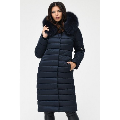 7bc765db28b Удлиненная зимняя куртка женская с капюшоном синяя  продажа