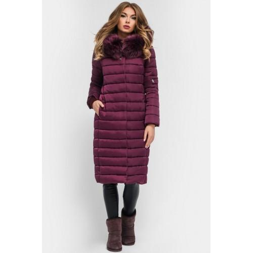 Жіноча зимова куртка подовжена з капюшоном