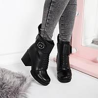 Ботинки зимние пурлина широкий каблук, ремешок липучка  код 22269, фото 1