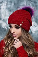 Шапка женская Дискотека с цветным помпоном из енота красная