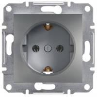 Розетка с заземлением и шторками (сталь) Asfora Schneider Electric