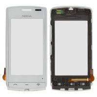 Сенсорный экран для мобильного телефона Nokia 500, с передней панелью, белый