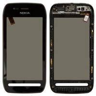 Сенсорный экран для мобильного телефона Nokia 603, с передней панелью, черный
