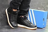 Мужские зимние кроссовки Adidas Cloudfoam 6682 черные с белым, фото 1
