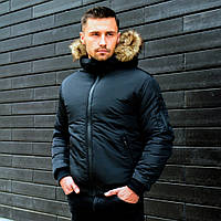 Мужская зимняя куртка с мехом черная, фото 1