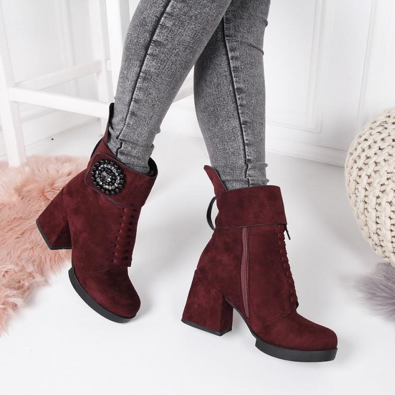 c03704ec2ea0 Ботинки зимние пурлина широкий каблук марсала, ремешок липучка код 22270