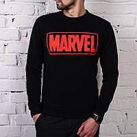 Мужской свитшот с флисом в стиле Marvel черный, фото 1