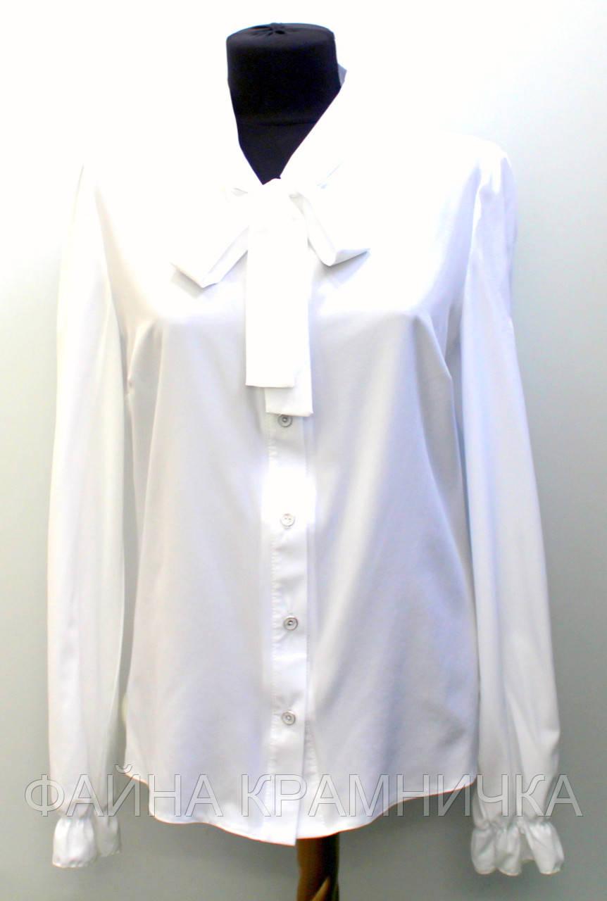 Блуза жін ворот-стійка на зав'язках дов/рукав рр.42-48