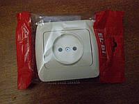Розетка одинарная без заземления (фикслайн) EL-BI, ZIRVE кремовая