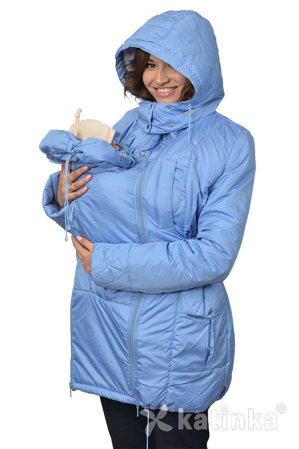 Демисезонная куртка для беременных и слингоношения 4в1, голубая.
