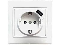 Розетка с заземлением + USB белая TM LEZARD Mira белая