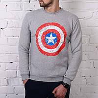 Мужская зимняя толстовка Captain america серая, фото 1