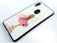 Чехол Glass Case для Xiaomi Mi 8 SE стеклянный / TPU с рисунком девушка в розовом