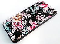 Чехол Glass Case для Huawei P Smart Plus (nova 3i) стеклянный / TPU с рисунком розы черный