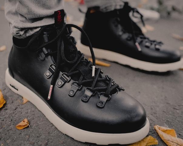 Мужские зимние ботинки Native Shoes Fitzsimmons  (black/white), native, натив черные