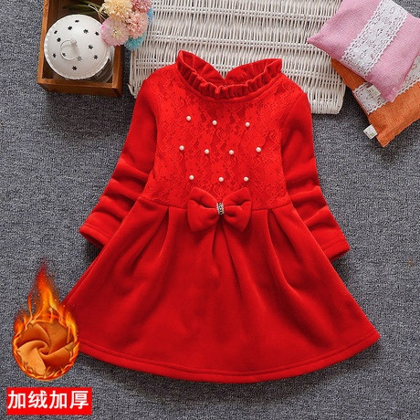 Нарядное детское платье на девочку велюровое утепленное на плюше красное