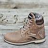 Мужские зимние ботинки кожаные подростковые коричневые (код 4780)- зимові черевики чоловічі підліткові шкіряні