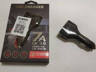 Зарядное устройство автомобильное от прикуривателя на 4 USB черный цвет. Quick Charge 3.0