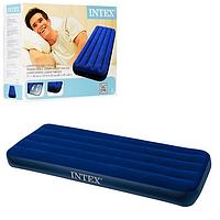 Велюровый матрас надувной Intex 68950, синий, одноместный 191 х 76 х 22 см