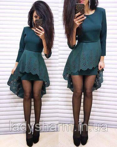 Женское нарядное платье с Перфорацией Темно зеленого цвета - LadySharm в  Харькове 158deb419de30