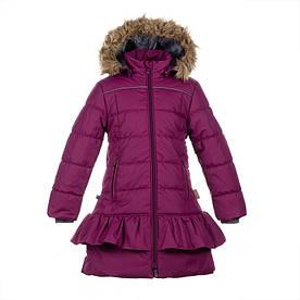 Зимнее термопальто для девочки 6-12 лет, р. 116-152 WHITNEY ТМ HUPPA бордо 12460030-80034