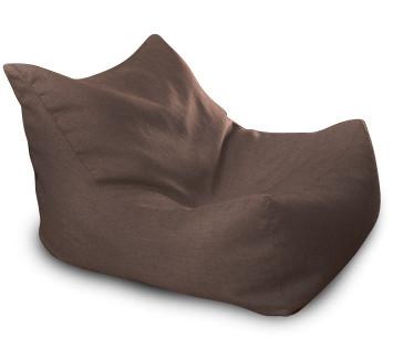Темно-коричневое бескаркасное кресло-лежак из микро-рогожки