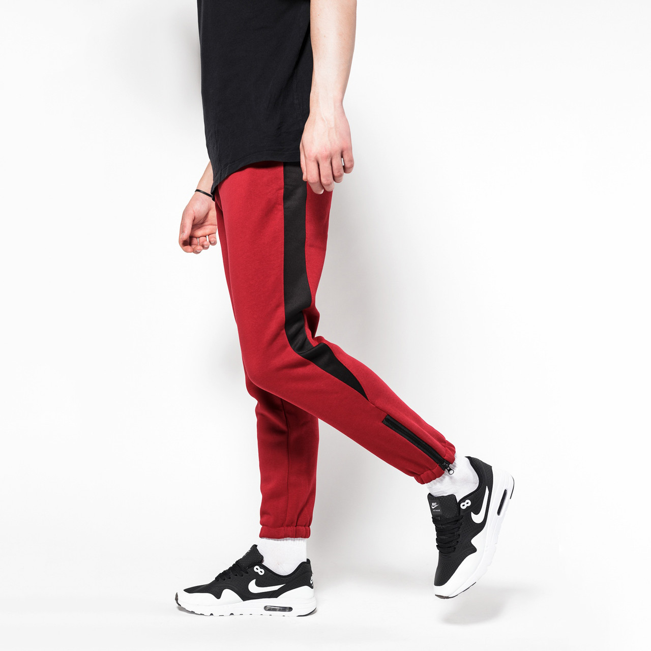 Тёплые спортивные штаны мужские ТУР Rockyбордовые с черной полоской