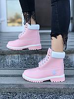 Женские зимние ботинки Timberland (pink), розовые timberland, женские розовые тимберланды,, фото 1