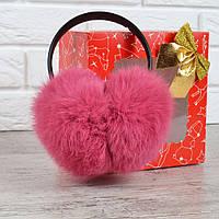 Наушники меховые кожаный ободок натуральный мех Леденец насыщенно розовые, Розовый