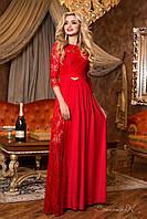 Шикарное вечернее длинное платье красное и чёрное