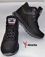 Мужские зимние кожаные ботинки Splinter, цвет черный, прошитые, серая подошва