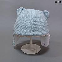 Утепленная вязаная шапочка для мальчика. 0-6 мес