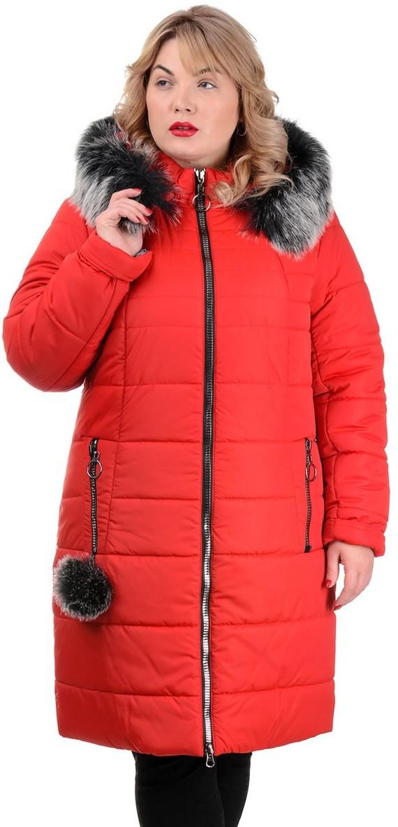Женская теплая куртка с помпоном на кармане