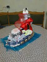 """Корабль из конфет """"Свадебный"""""""
