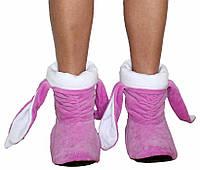 Тапочки Зайчики розовые с белыми ушами