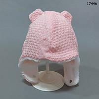 Утепленная вязаная шапочка для девочки. 0-6 мес