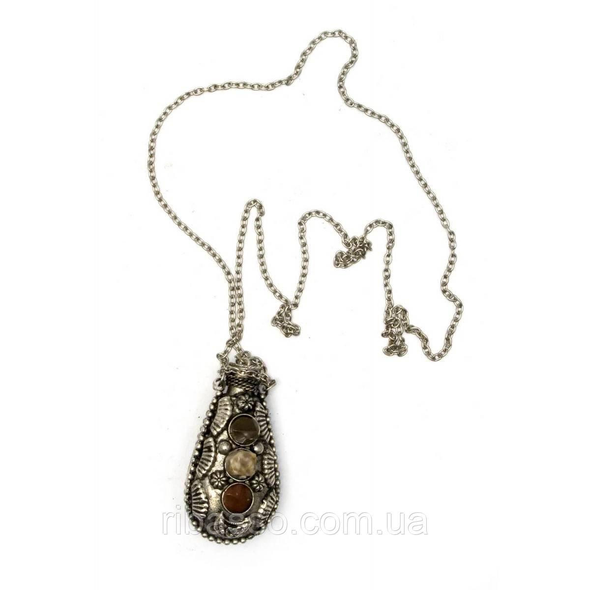"""Аромакулон бронзовый с камнями """"Лист"""" 6х3х2 см 21815A"""