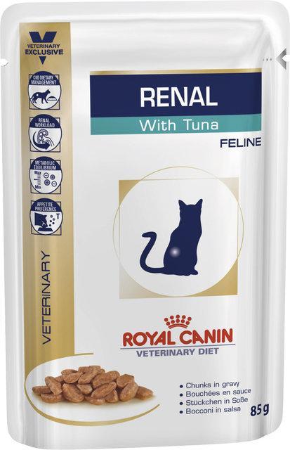 Royal Canin Renal Feline 85гр *12шт паучи с тунцом -диета при почечной недостаточности у кошек