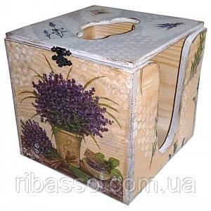 "Салфетница кубик ""Лаванда"" 14х14х14 сосна, липа 30315"